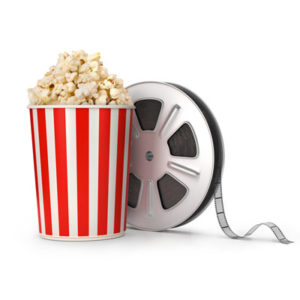 Popcorn with movie reel